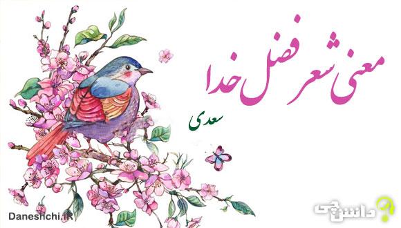 معنی شعر فضل خدا از سعدی