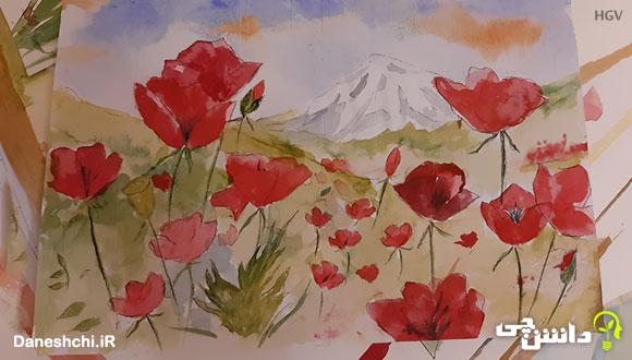 نقاشی آبرنگ گل HGV